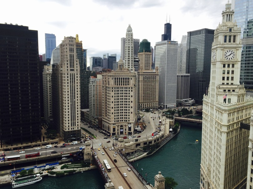 This is the south view from Tribune Tower's 22nd floor balcony. You can see the Chicago River, Michigan Avenue and Wacker Drive.